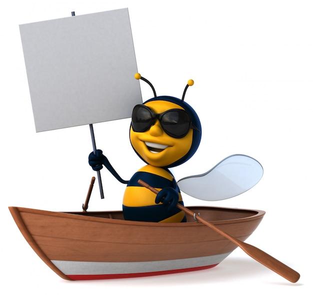 Весело иллюстрированная пчела в лодке с солнцезащитными очками держит плакат