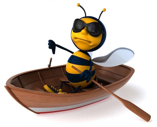Весело иллюстрированная пчела в лодке с солнцезащитными очками показывает большие пальцы вниз