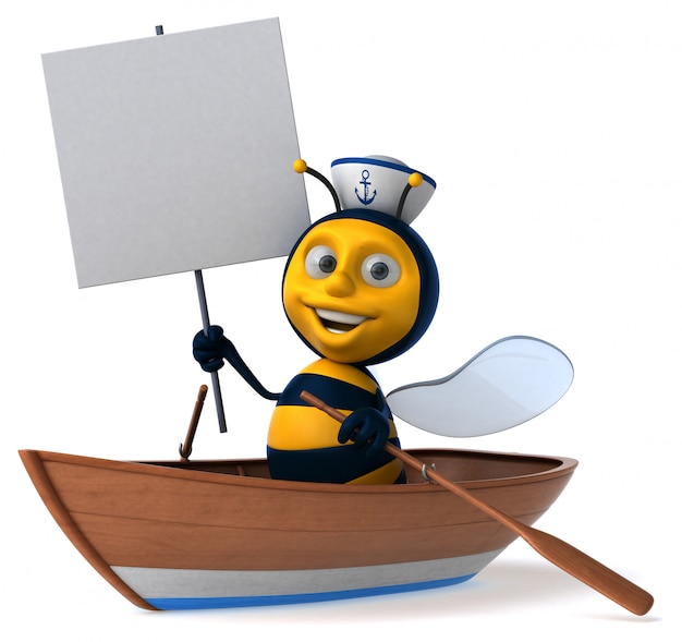 Весело проиллюстрированная пчела в лодке с матросской шляпой держит плакат