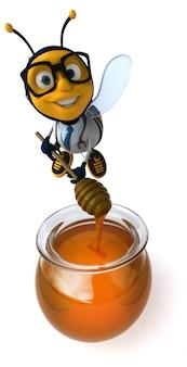 Весело иллюстрированная докторская пчела в очках, делающая мед