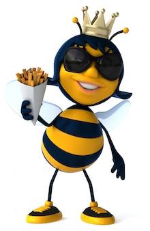 Весело иллюстрированная пчела с картофелем фри