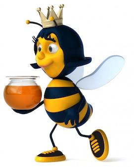 Веселая иллюстрированная пчела в короне с банкой меда