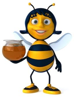 Весело иллюстрированная пчела держит банку с медом
