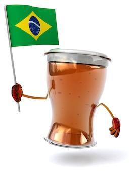 Весело проиллюстрированный персонаж пива держит флаг бразилии