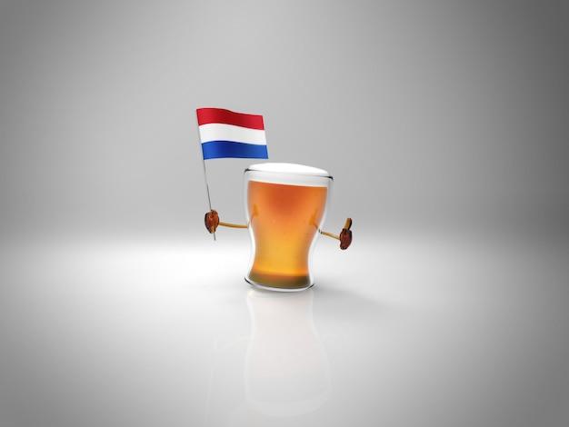 オランダの旗を握る楽しいイラスト入りビールのキャラクター