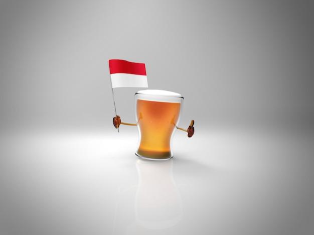 Весело проиллюстрированный персонаж пива держит флаг индонезии
