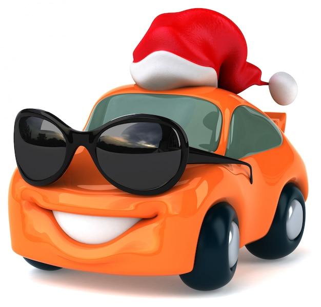 サングラスとクリスマス帽子の面白いイラスト付き車