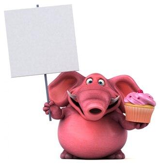 Забавный иллюстрированный розовый слон, держащий кекс и плакат