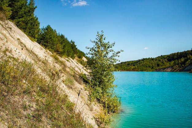 Красивый пейзаж - горное озеро с необычной бирюзовой водой. каменный берег с зелеными деревьями.
