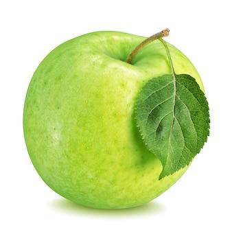 白で隔離される葉と青リンゴ