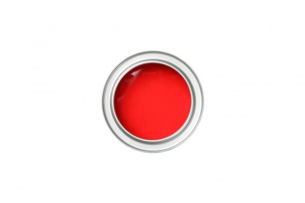 分離された白で隔離赤いペンキの缶