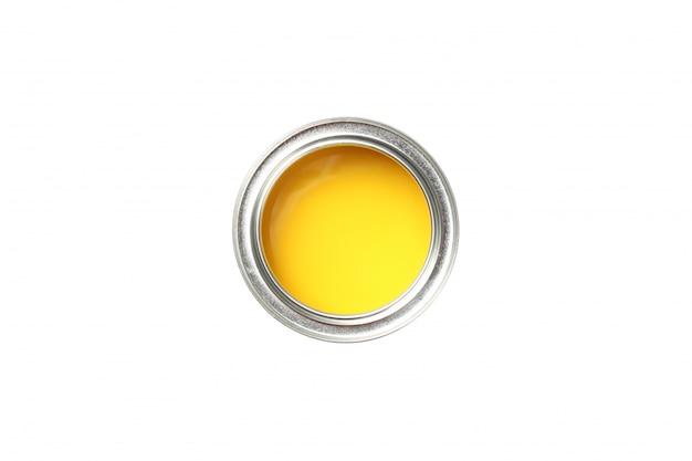 分離された白で隔離される黄色のペンキの缶