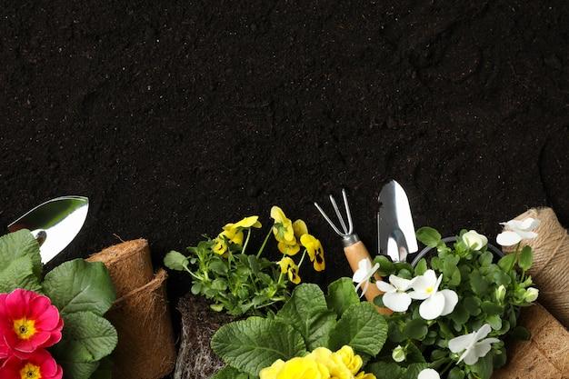 花と土壌の背景、テキスト用のスペースにガーデニングツール