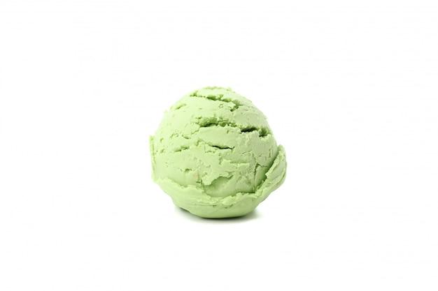 白い表面に分離されたアイスクリームボール