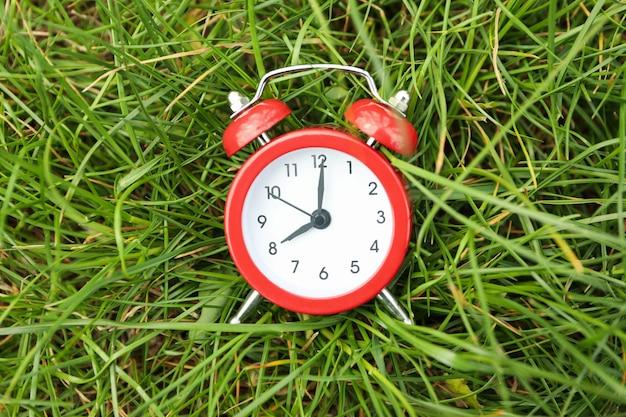 Будильник на зеленой траве. весна