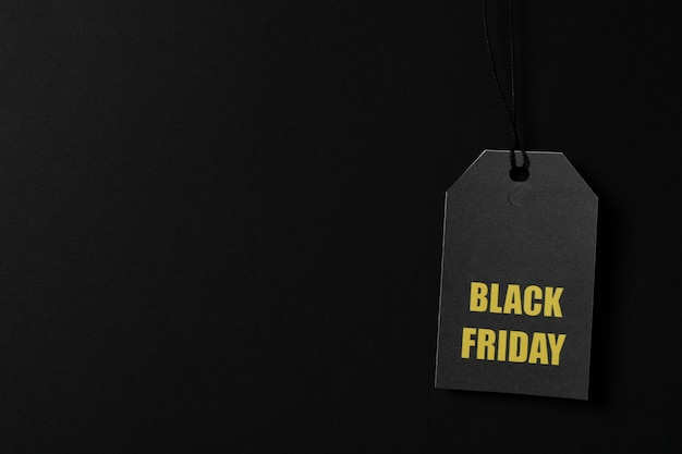 黒いスペース、コピースペースの値札に碑文ブラックフライデー