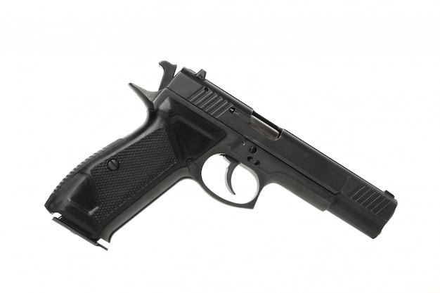 Черное травматическое оружие изолированное на белизне