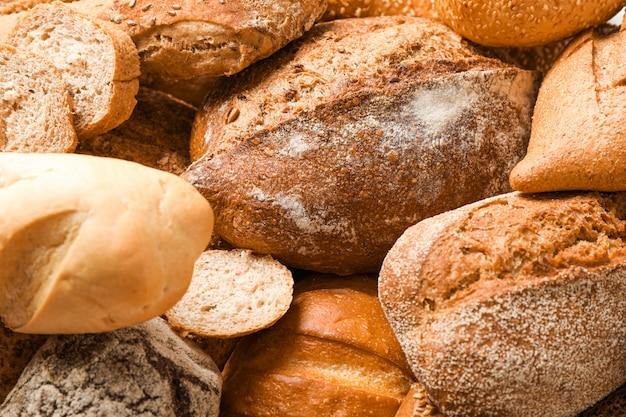 Различные хлебобулочные изделия, как пространство, крупным планом
