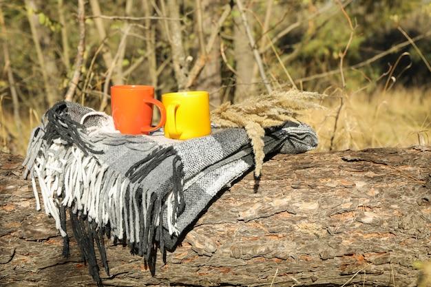 Цвет чашки и плед на стволе. красивый лес, место для текста