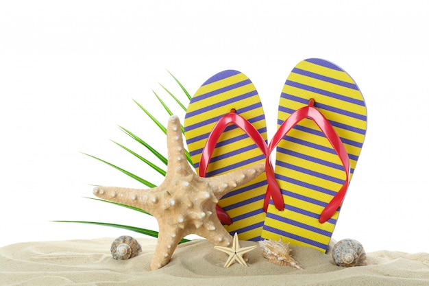 ヒトデ、貝殻、ヤシの葉が白い背景で隔離の澄んだ海砂の上にビーチサンダルします。夏休み