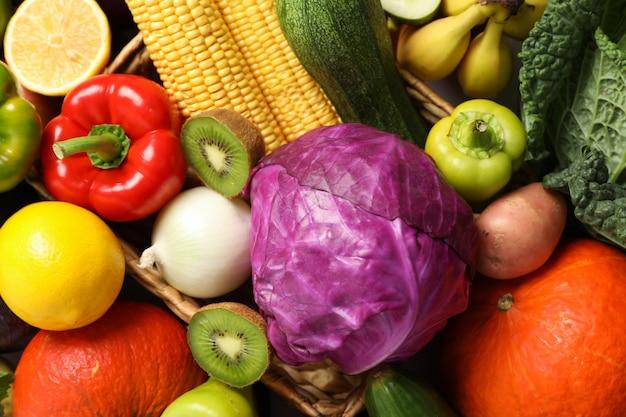 Овощи и фрукты текстуры на целом крупным планом