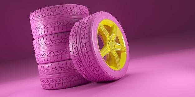 ピンクの車のホイールはピンクの背景に黄色のディスクを設定