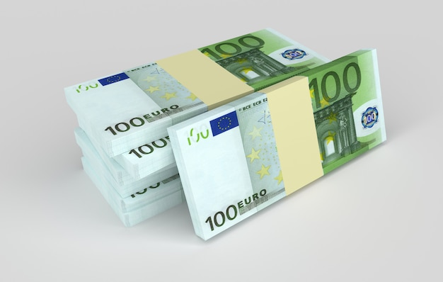 Пачки евро денег лежат рядом друг с другом