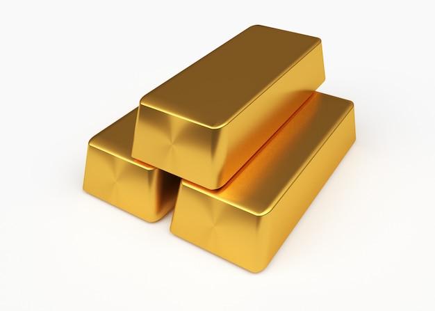 Золотой слиток, изолированные на белом