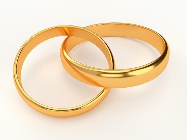 接続された金の結婚指輪