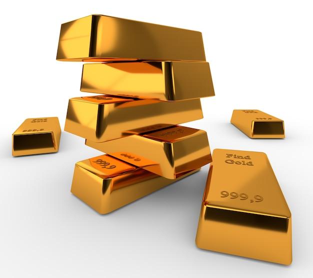 Золотые слитки лежат друг на друге изолированно