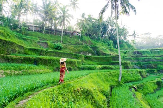 Женщина на рисовой террасе тегалаланг на бали