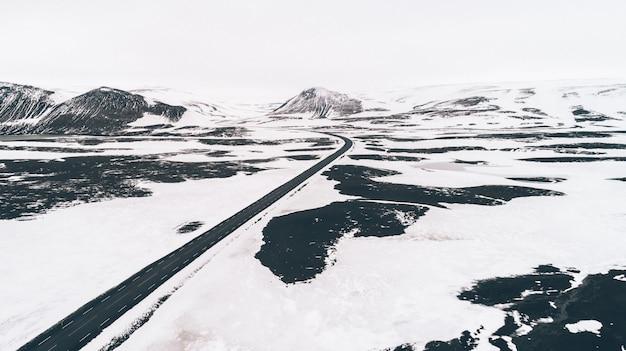 アイスランドのパノラマ、土地の空撮