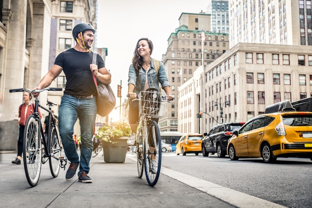 Велосипедисты в нью-йорке