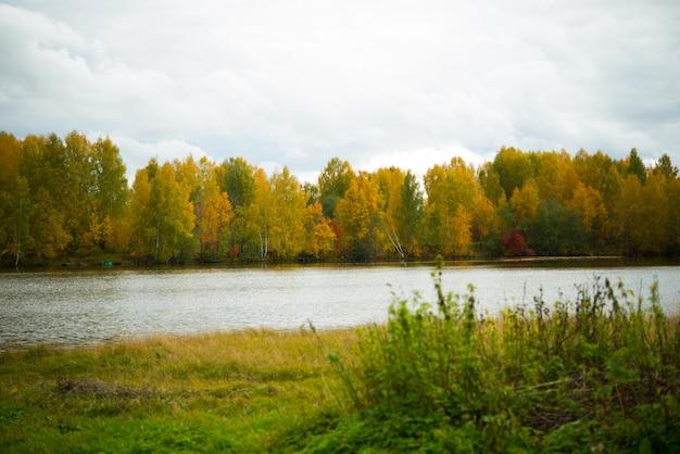 田舎、黄金色の秋、色鮮やかな紅葉、緑の草、湖、ロシアの秋の風景