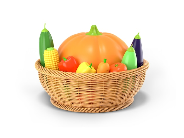 Корзина с осенним урожаем овощей на белом фоне