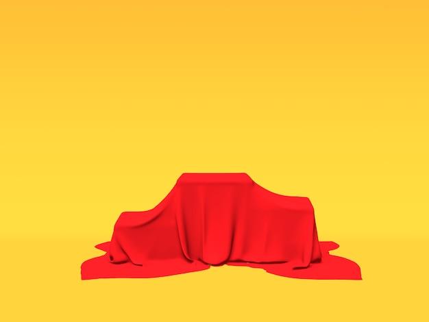 Подиум, пьедестал или платформа покрыты красной тканью на желтом фоне