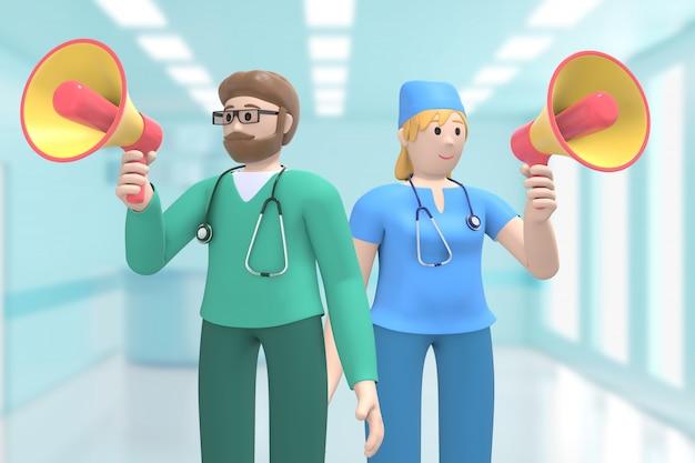 医療インテリアの男性と女性医師がメガホンを呼び、警告、注意を喚起している。