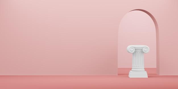 アーチが付いている古典的なローマの台座の柱。勝利台座はミニマリストのコンセプトです。