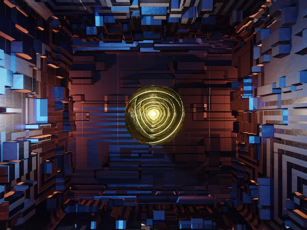 Научно-фантастический интерьер космического корабля или города, освещенный фантастическим светом