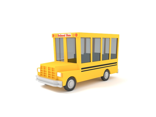 白い背景に黄色の漫画スクールバス