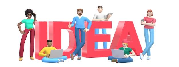 Группа в составе молодые многонациональные успешные люди с идеей компьтер-книжки, таблетки, телефона и слова.