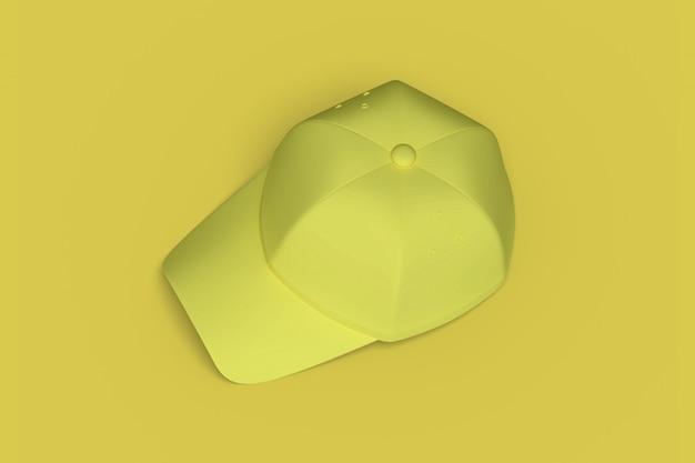 黄色の背景の抽象的なイメージに黄色の野球帽