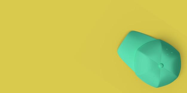 黄色の背景の抽象的なイメージの緑の野球帽