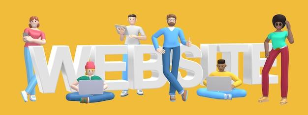 Группа в составе молодые многонациональные успешные люди с вебсайтом компьтер-книжки, таблетки, телефона и слова на желтой стене.