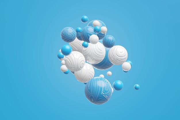 青色の背景に動きのある幾何学的オブジェクト