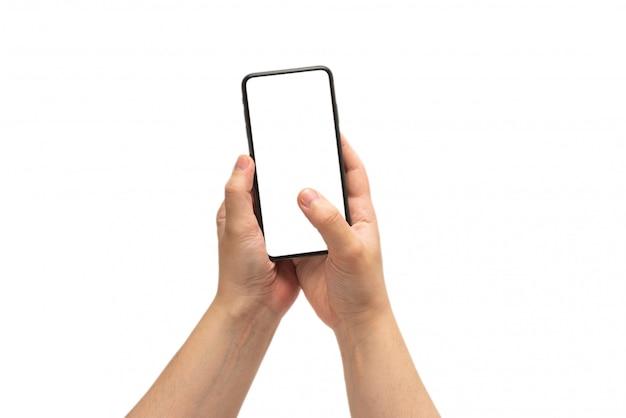 白い背景で隔離の男の手でスマートフォン。白い画面。
