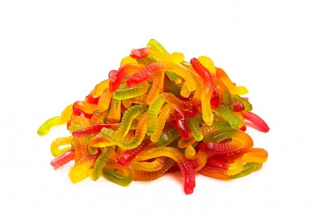 Сочные красочные желейные конфеты. жевательные конфеты.