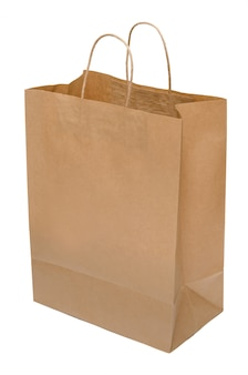 クラフト紙から茶色の紙袋。パッケージを開きます。分離されたショッピングバッグ