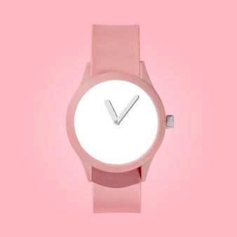 Макет розовых наручных женских часов на розовом фоне