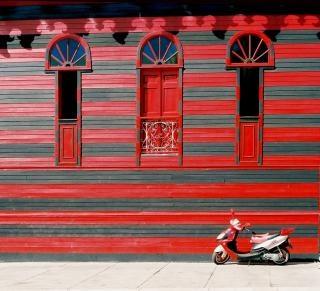 赤い家、自転車